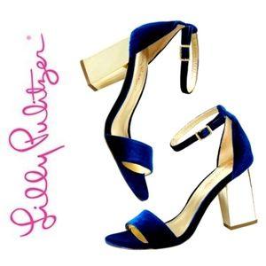 🆕️LILLY PULITZER Amber Lyn Velvet & Gold Heels